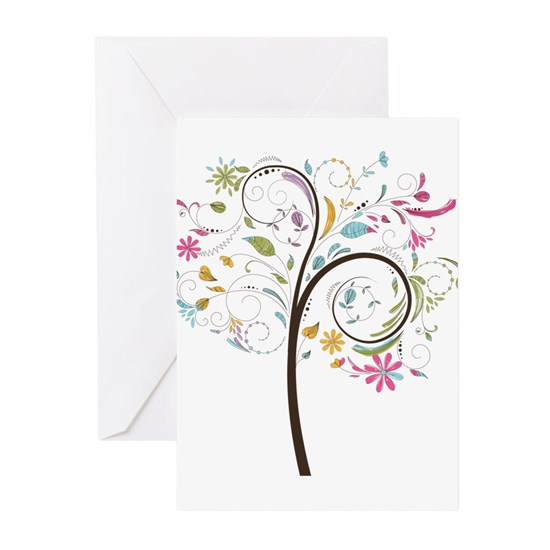Abstract swirl floral tree graphic