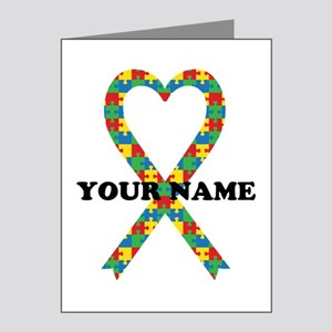 Personalized Autism Ribbon Note Cards (Pk of 10)
