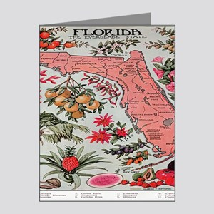 Vintage Florida Map with Fru Note Cards (Pk of 10)