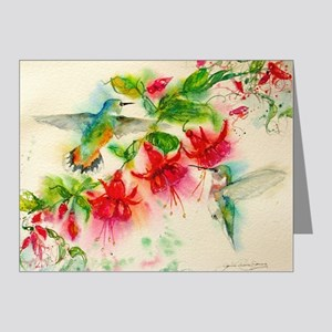 Hummingbirds in Fuschia Garden 2 Note Cards