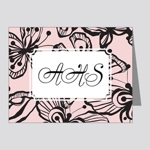 Black White Butterfly Black Pink Note Cards (Pk of