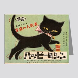 Black Cat, Japan, Vintage Poster Note Cards (Pk of