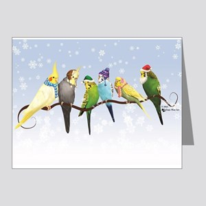 Winter Parakeets & Cockatiels Note Cards