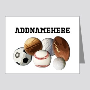 Sports Balls, Custom Name Note Cards (Pk of 10)