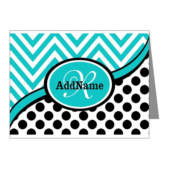 Teal Chevron Black Dots Monogram