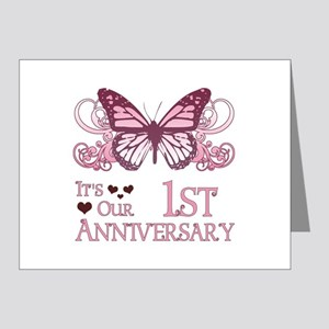 1st Wedding Aniversary (Butterfly) Note Cards (Pk