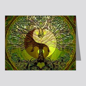 Yin Yang Green Tree of Life Note Cards