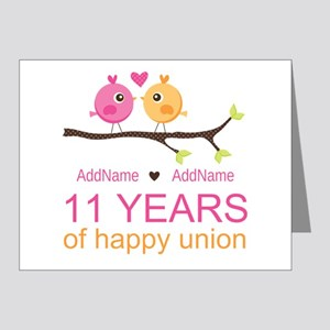 11th Anniversary Personalize Note Cards (Pk of 20)