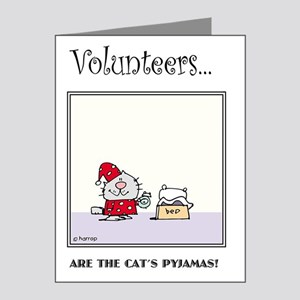 Volunteers Are The Cat's Pyj Note Cards (Pk of 20)