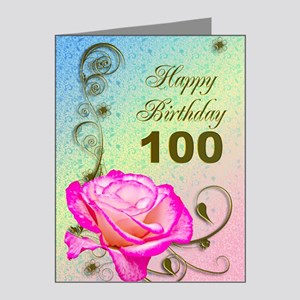 100th Birthday Elegant rose Note Cards (Pk of 20)