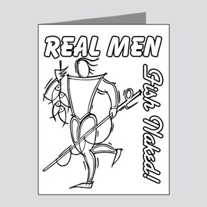 Real Men Fish Naked Note Cards (Pk of 20)