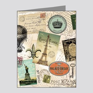 Vintage Travel collage Note Cards (Pk of 20)