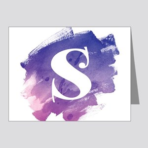 MONOGRAM Purple Brushstroke Note Cards