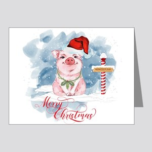 Merry Christmas Pig North Pole Note Cards