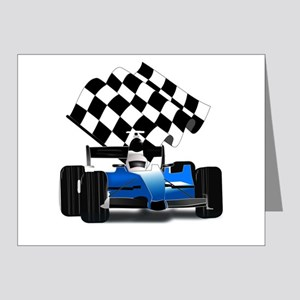 Blue Race Car with Checkered Flag Note Cards