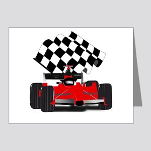 Red Race Car with Checkered Flag Note Cards