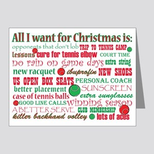 Tennis Holiday Greetings Note Cards (Pk of 20)