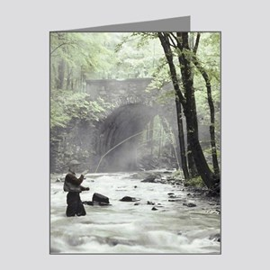 Fly Fisherman in Misty Strea Note Cards (Pk of 20)