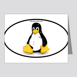 Tux Linux Oval Note Cards