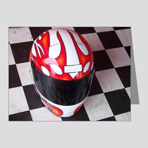 Race Helmet on Checkered Flag Note Cards