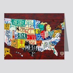 License Plate Map of USA 201 Note Cards (Pk of 20)