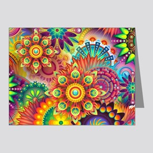 Psychedelic Floral Pattern Red Green Blue Note Car