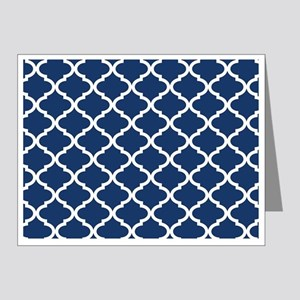 Navy Blue White Quatrefoil P Note Cards (Pk of 20)