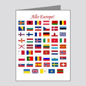 European Flags_dark tee Note Cards (Pk of 20)