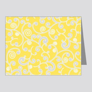 Elegant Yellow and Gray Scro Note Cards (Pk of 20)