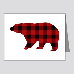 lumberjack buffalo plaid Bear Note Cards