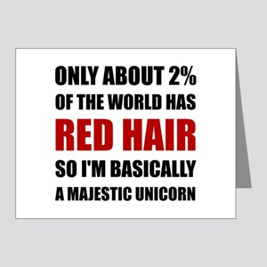 Red Hair Majestic Unicorn Note Cards