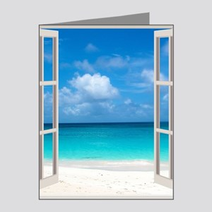 Tropical Beach View Through  Note Cards (Pk of 20)