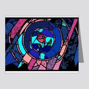 Beauty & the Beast Stained Glass Rose Note Cards