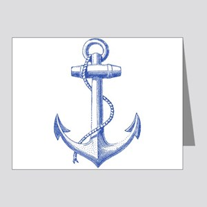 vintage navy blue anchor Note Cards