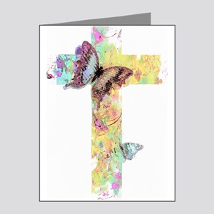 Pastel floral cross and butterflies Note Cards