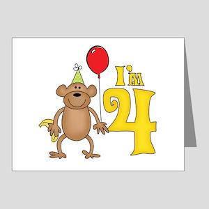 Funny Monkey 4th Birthday Note Cards (Pk of 20)