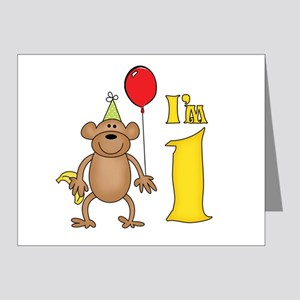 Funny Monkey First Birthday Note Cards (Pk of 20)