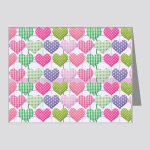 Gingham Hearts Pastel Patter Note Cards (Pk of 20)