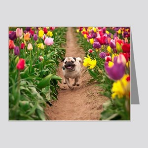 Pug in the Tulips Note Cards (Pk of 20)