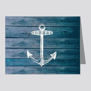 Anchor on Blue faux wood gra Note Cards (Pk of 20)
