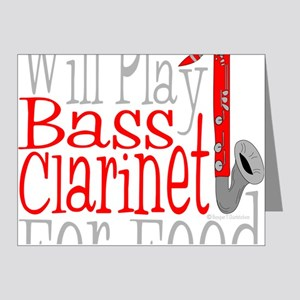 Will Play Bass Clarinet dark Note Cards (Pk of 20)