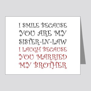 Smile Sister In Law Note Cards
