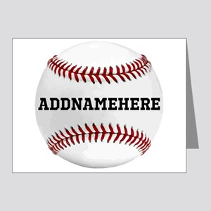 Personalized Baseball Red/White Note Cards (Pk of