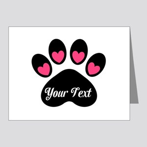 Personalizable Paw Print Pink Note Cards