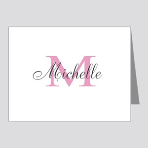 Personalized pink monogram Note Cards