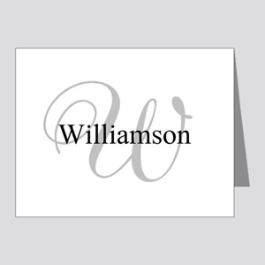 CUSTOM Initial and Name Gray Note Cards (Pk of 20)