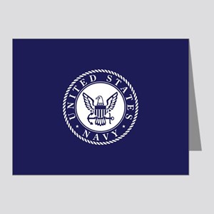 US Navy Emblem Blue White Note Cards