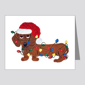 Dachshund (red) Tangled In Christmas Note Cards