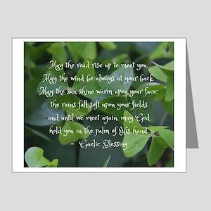 Shamrocks Gaelic Blessing Note Cards -20 Pack