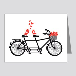 tandem bicycle with cute love birds Note Cards